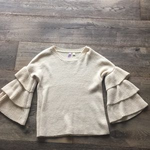 Knit ruffle sleeve sweater